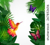 tropical leaves with birds ... | Shutterstock . vector #267852656
