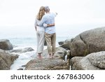 happy couple standing on the... | Shutterstock . vector #267863006