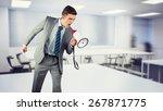 businessman shouting through...   Shutterstock . vector #267871775