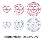 vector heart rate icons in... | Shutterstock .eps vector #267897392