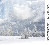 winter background with spruce... | Shutterstock . vector #267910706