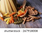 different types of pasta on... | Shutterstock . vector #267918008