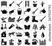 vector black garden icons set... | Shutterstock .eps vector #267923792
