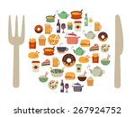 food icons in form of a plate... | Shutterstock .eps vector #267924752