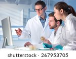 group of scientists working at... | Shutterstock . vector #267953705