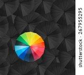 leader holding red umbrella for ... | Shutterstock . vector #267955295
