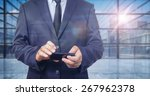 businessman in a global virtual ... | Shutterstock . vector #267962378