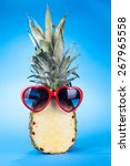 funny pineapple in a sunglasses ... | Shutterstock . vector #267965558