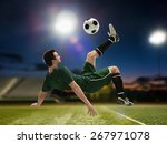 soccer player kicking the ball... | Shutterstock . vector #267971078