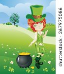 cartoon leprechaun boy with... | Shutterstock .eps vector #267975086