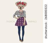 fashion animal illustration ... | Shutterstock .eps vector #268000322