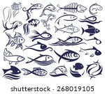 set of logos of fishes. | Shutterstock .eps vector #268019105