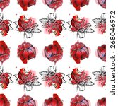 seamless floral pattern  tulips ... | Shutterstock . vector #268046972