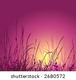grass vector silhouette and sunset. Ideally for your use in design - stock vector