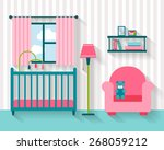 baby room with furniture.... | Shutterstock .eps vector #268059212