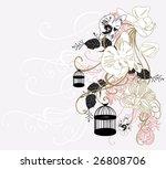 illustration of retro birdcages | Shutterstock .eps vector #26808706