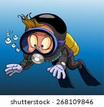 cartoon diver boy surprised... | Shutterstock .eps vector #268109846