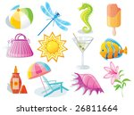 summer and travel icon set on... | Shutterstock .eps vector #26811664
