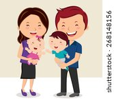 happy family smiling. cheerful... | Shutterstock .eps vector #268148156