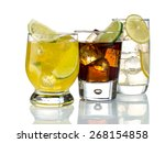 mixed drinks on white background | Shutterstock . vector #268154858