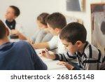 group of elementary school... | Shutterstock . vector #268165148