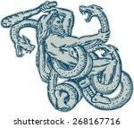 etching engraving handmade...   Shutterstock .eps vector #268167716