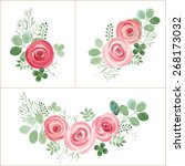 hand drawn cute roses and leaf... | Shutterstock .eps vector #268173032