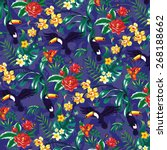 tropical pattern with toucans... | Shutterstock .eps vector #268188662