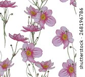 watercolor wildflowers seamless ... | Shutterstock .eps vector #268196786