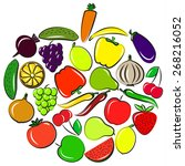 vegetables and fruits set in... | Shutterstock .eps vector #268216052