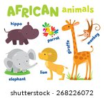 set of funny cute african... | Shutterstock .eps vector #268226072