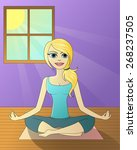 blonde woman doing yoga  vector | Shutterstock .eps vector #268237505