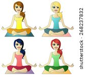 set of 4 women doing yoga vector | Shutterstock .eps vector #268237832