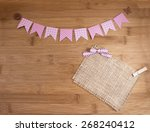 cute pink bunting banners on... | Shutterstock . vector #268240412