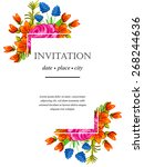 invitation with floral... | Shutterstock .eps vector #268244636