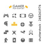 vector flat icon set   gamer
