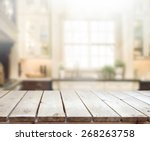 table top and blur interior of... | Shutterstock . vector #268263758