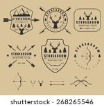set of vintage hunting logos ... | Shutterstock .eps vector #268265546