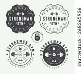 set of gym logos  labels and...   Shutterstock .eps vector #268265936