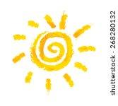 Watercolor Sun  Rays Flat Icon...