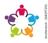 teamwork 5  holding hands... | Shutterstock .eps vector #268297292