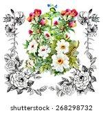 garden watercolor floral...   Shutterstock . vector #268298732