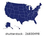 vector map of usa | Shutterstock .eps vector #26830498