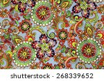 macro bright floral pattern on... | Shutterstock . vector #268339652