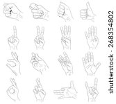 hand gestures set  black and... | Shutterstock .eps vector #268354802