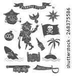 hand drawn pirate objects... | Shutterstock .eps vector #268375586