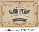 vintage horizontal invitation... | Shutterstock .eps vector #268378502