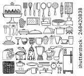 hand drawn cooking tools on... | Shutterstock .eps vector #268420838