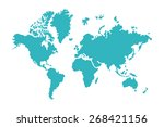 blue world map isolated on... | Shutterstock .eps vector #268421156