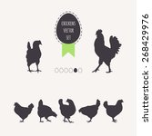 set of chickens. silhouettes of ... | Shutterstock .eps vector #268429976